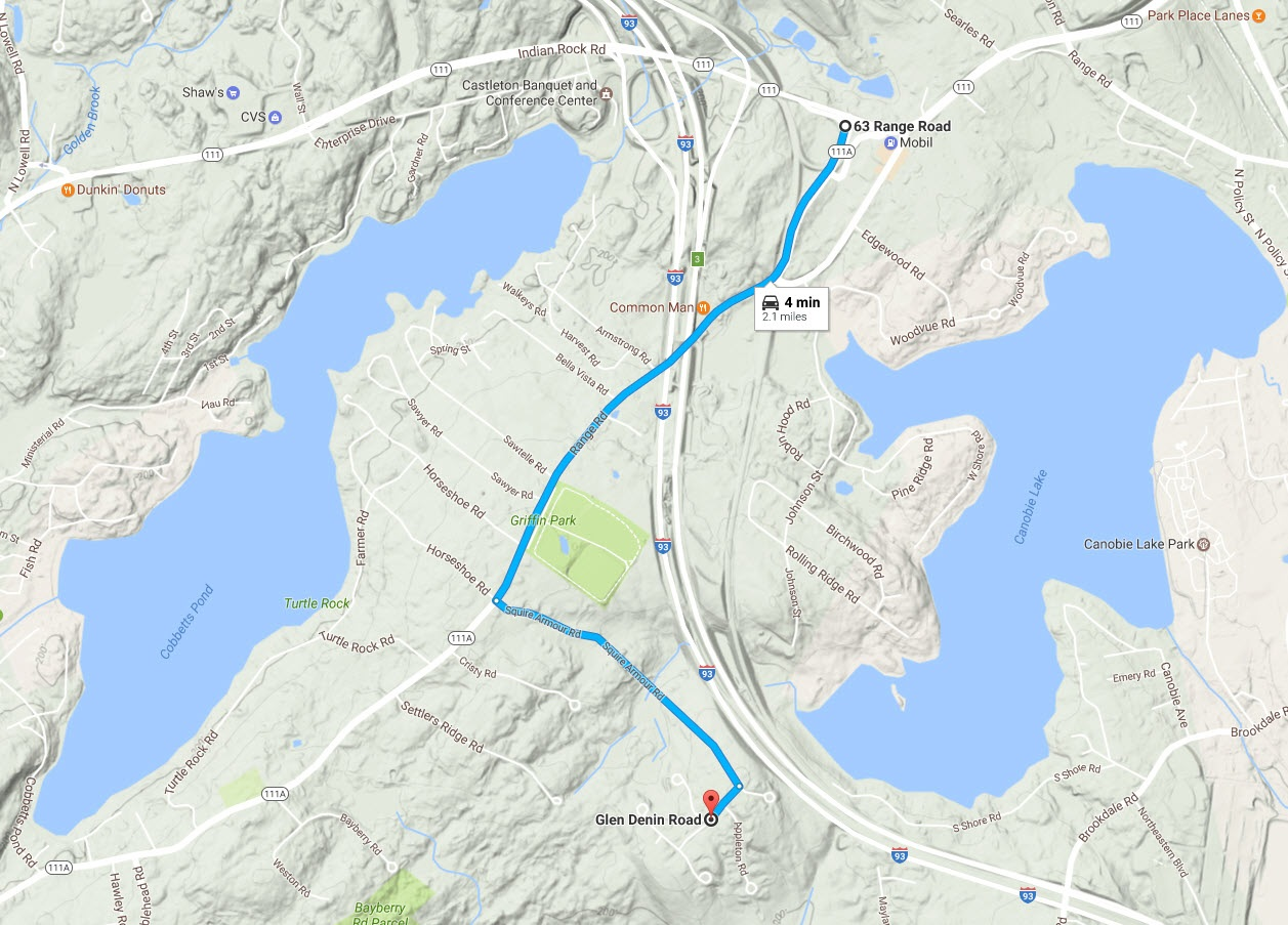 Topo Map - 2 miles to exit 3 I-93