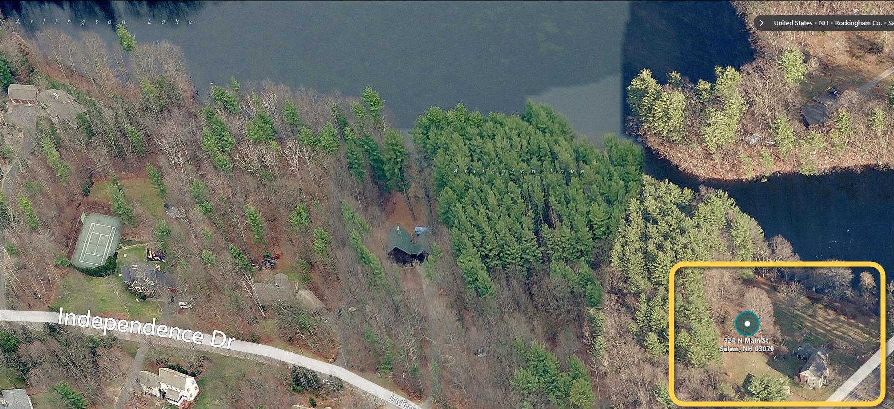 Arlington Lake - aerial - marked