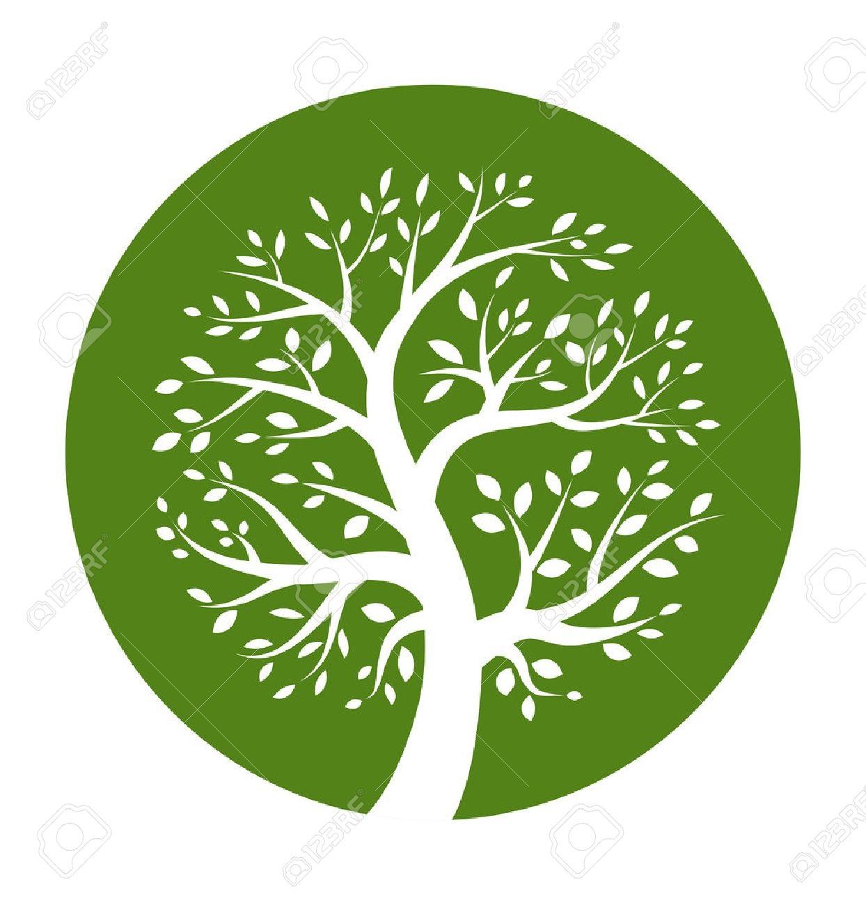 25433325-white-tree-icon-in-green-round