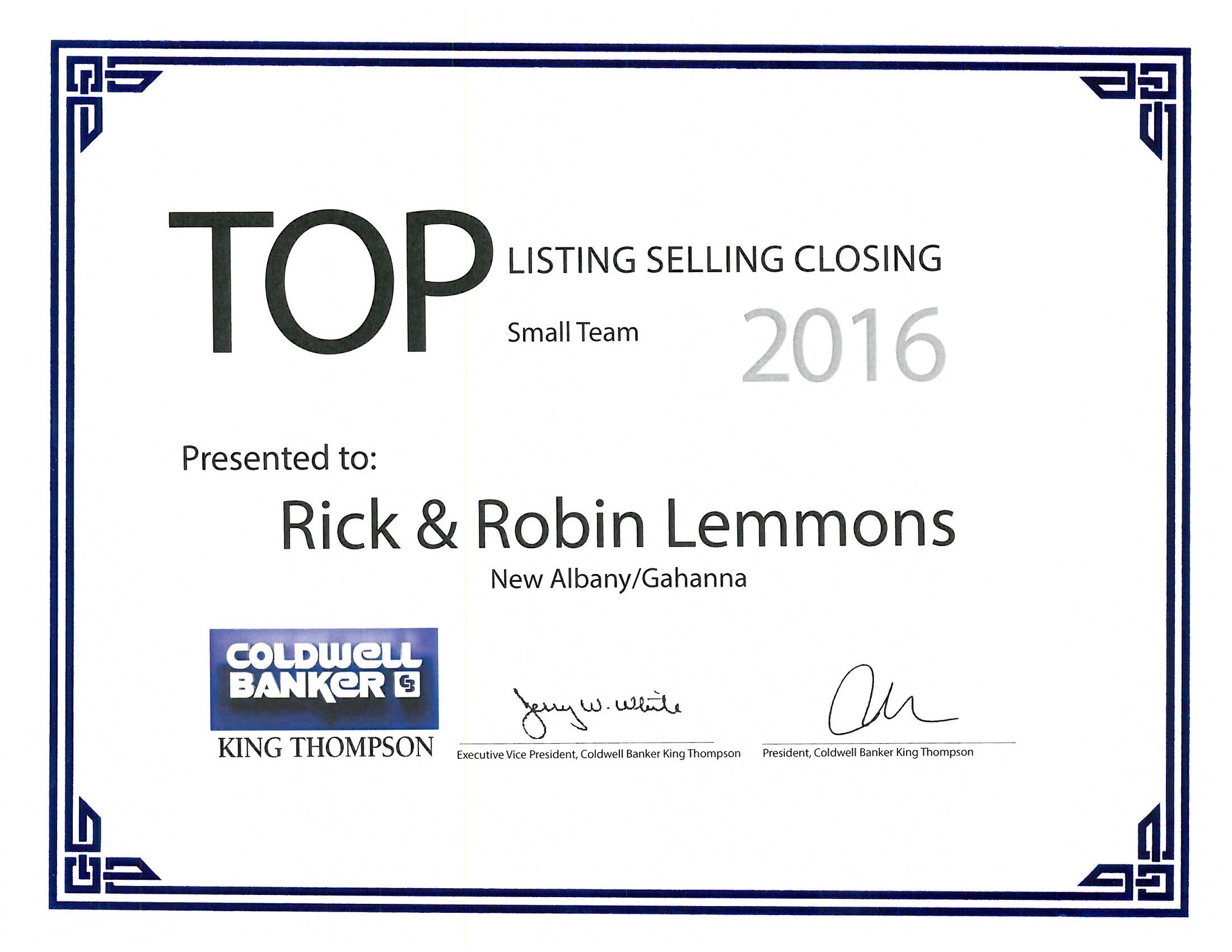2016 Listing selling Closing Team