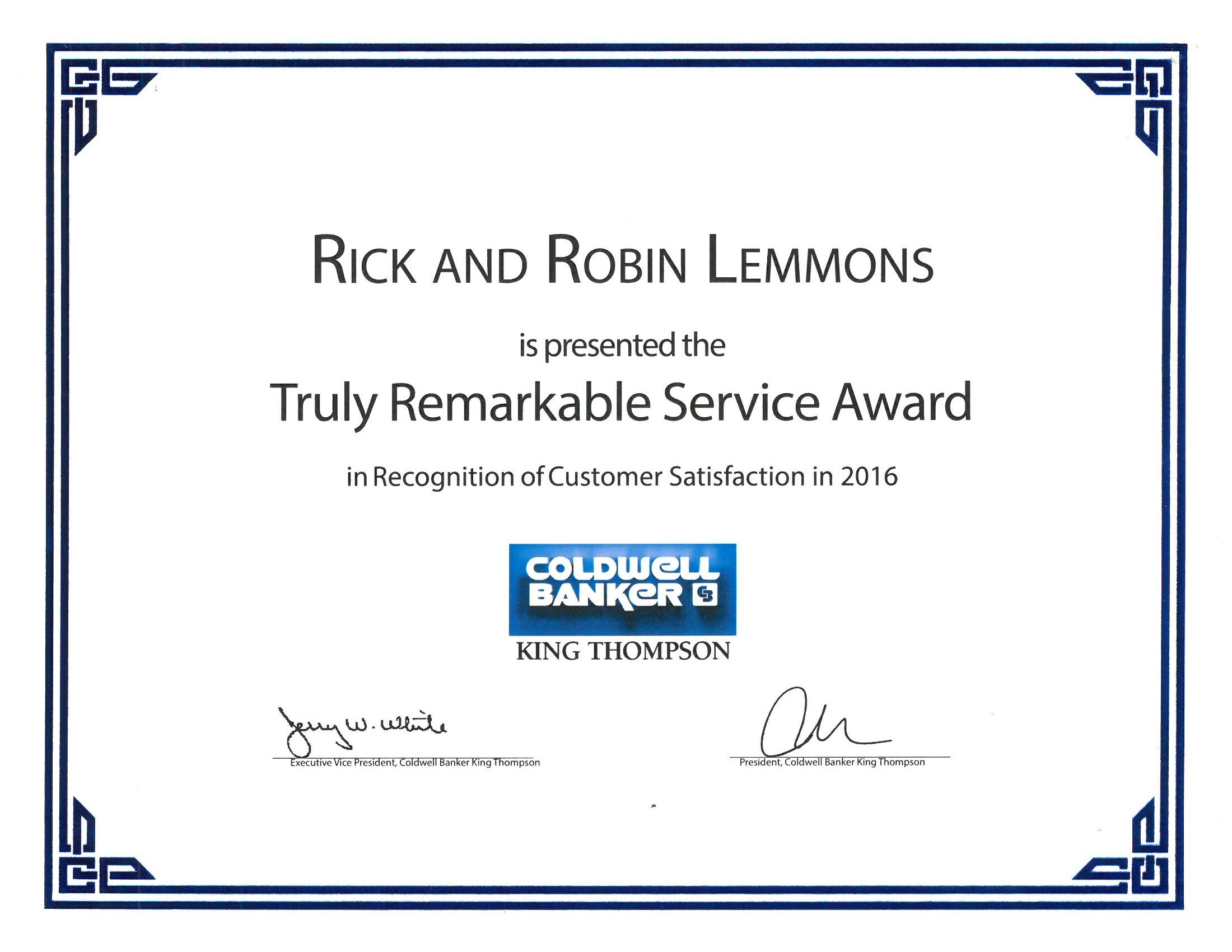 2016 Truly Remarkable service Award