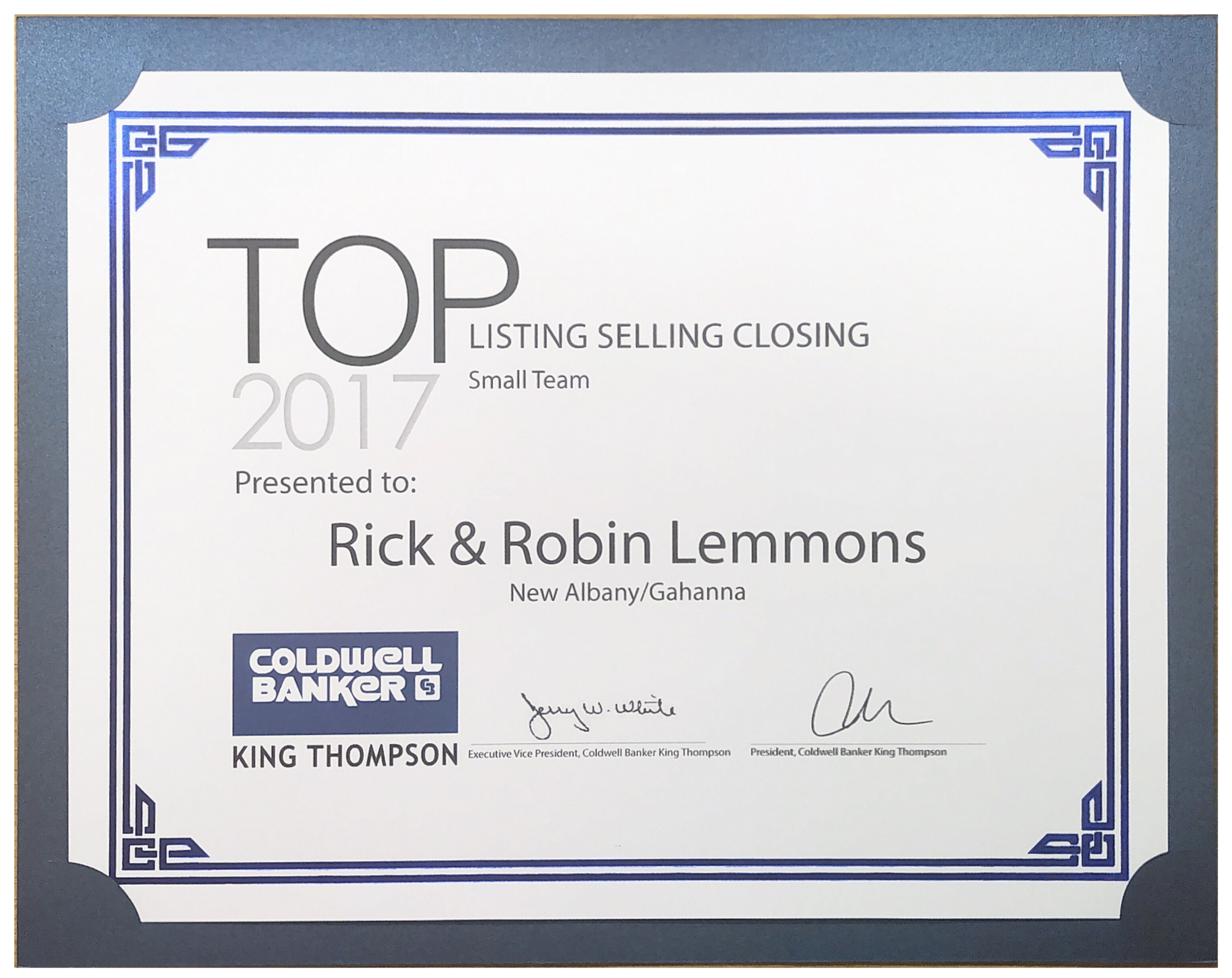 2017 Top Listing Selling Closing