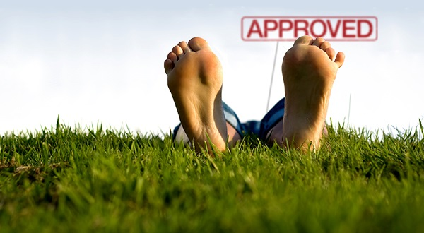 Approved - relaxing feet in grass