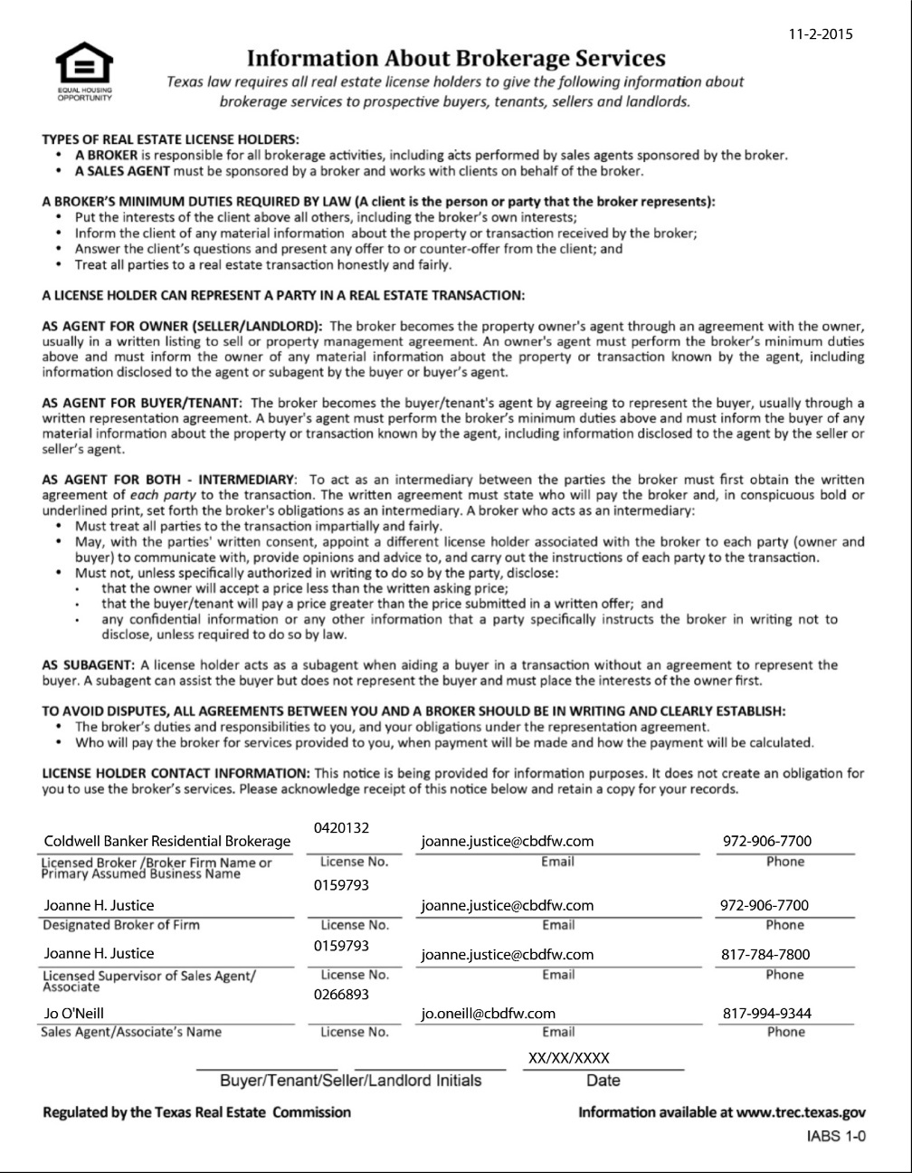 Texas Real Estate Commission (TREC) Information About Brokerage Services Form-30