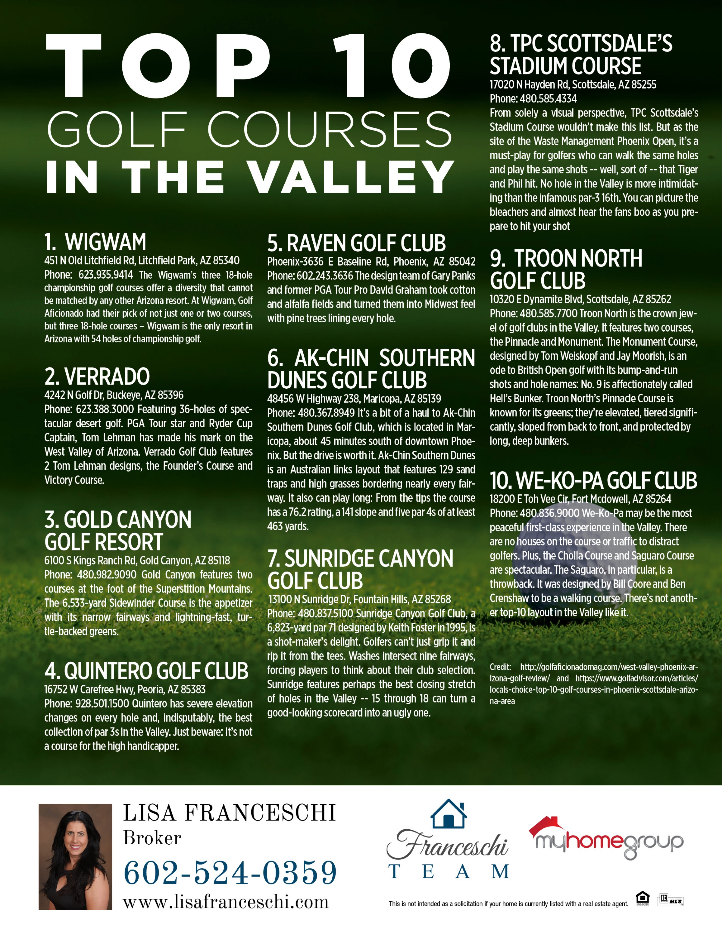 Lisa Franceschi  Golf Courses