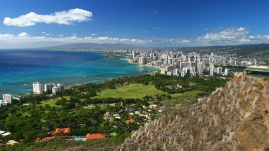 Overlooking Oahu from Diamond Head