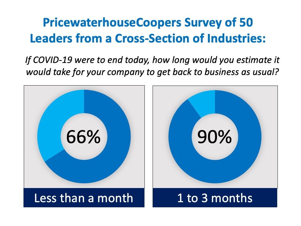 PricewaterhouseCoopers survey of 50 leaders from a cross-section of industries