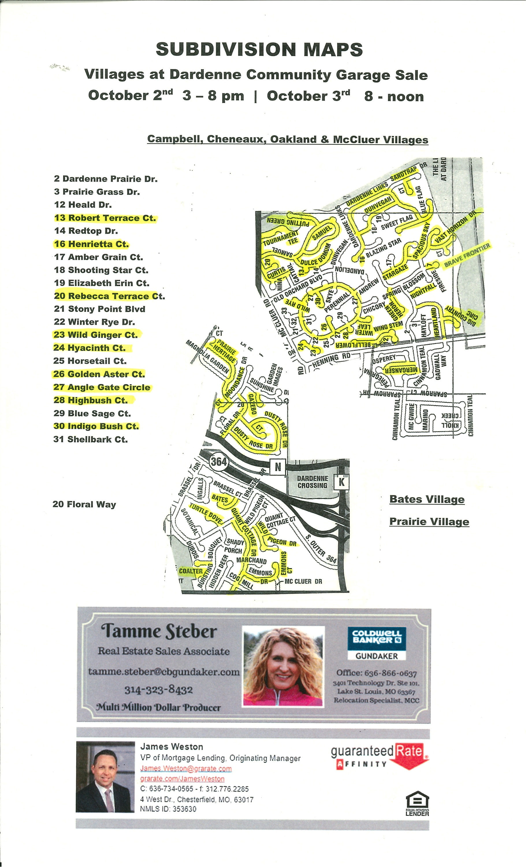 Villages At Dardenne Subdivision Garage Sale Participating Homes Map 2020