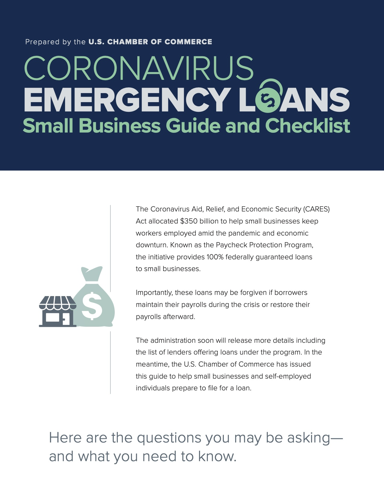 Small Business Guide for CARES - CORONAVIRUS EMERGENCY LOANS