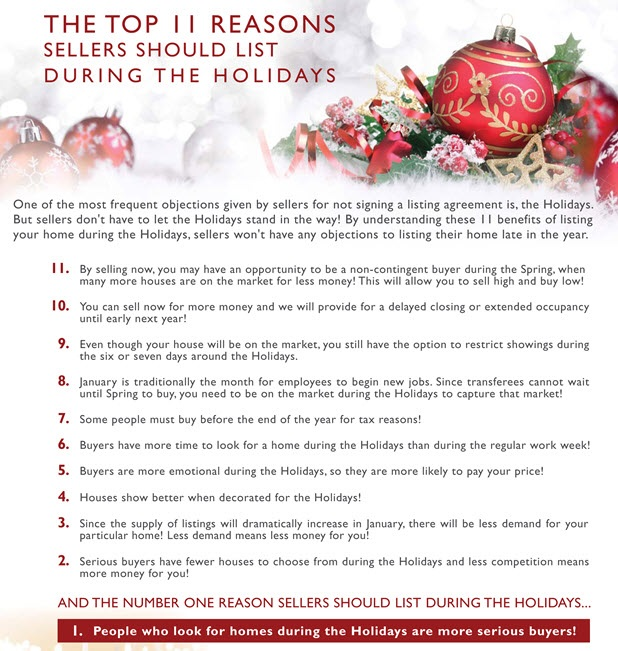 11 Reasons Sellers Should List During the Holidays