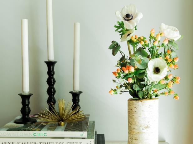fall tree stump vase