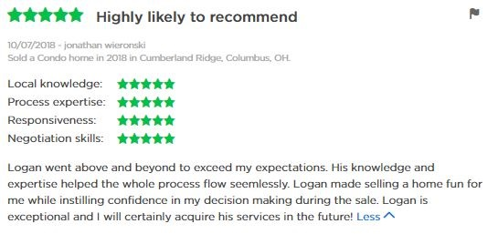 seller review of logan z bravard real estate agent with coldwell banker king thompson in columbus ohio