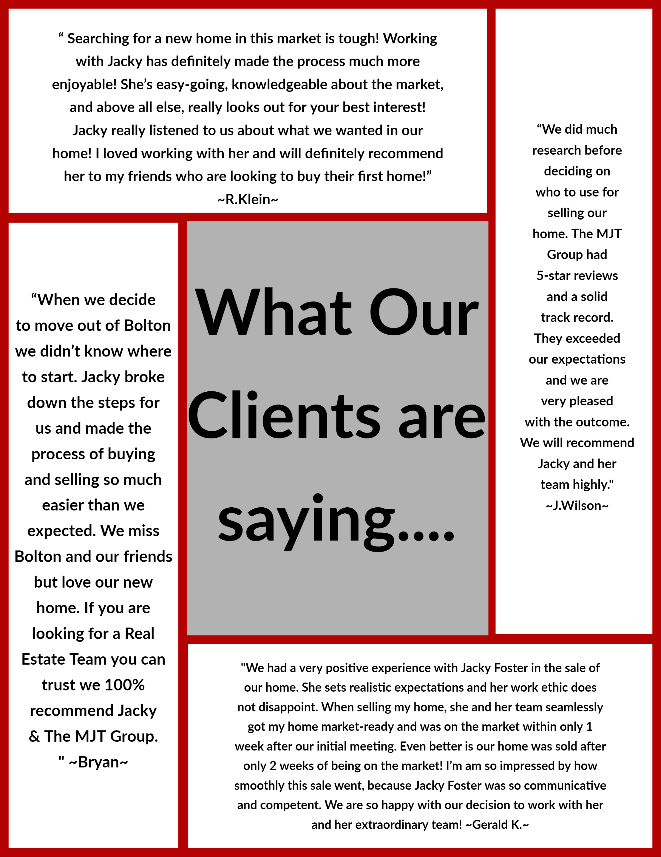 Client Testimonials for Jacky Foster, MJT Group Boston