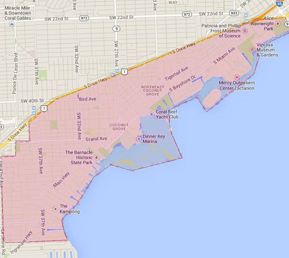 coconut grove, fl, homes for sale, maps, trees, boats