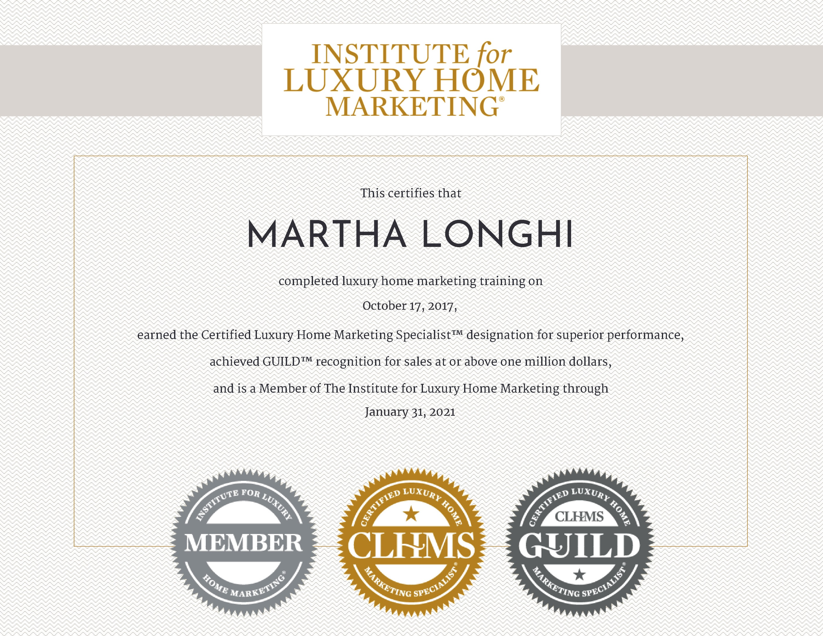martha longhi is a certified luxury home marketing specialist