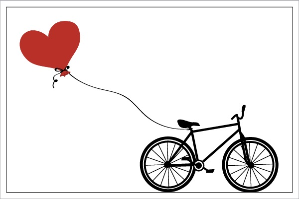 Bicycle with Heart Balloon