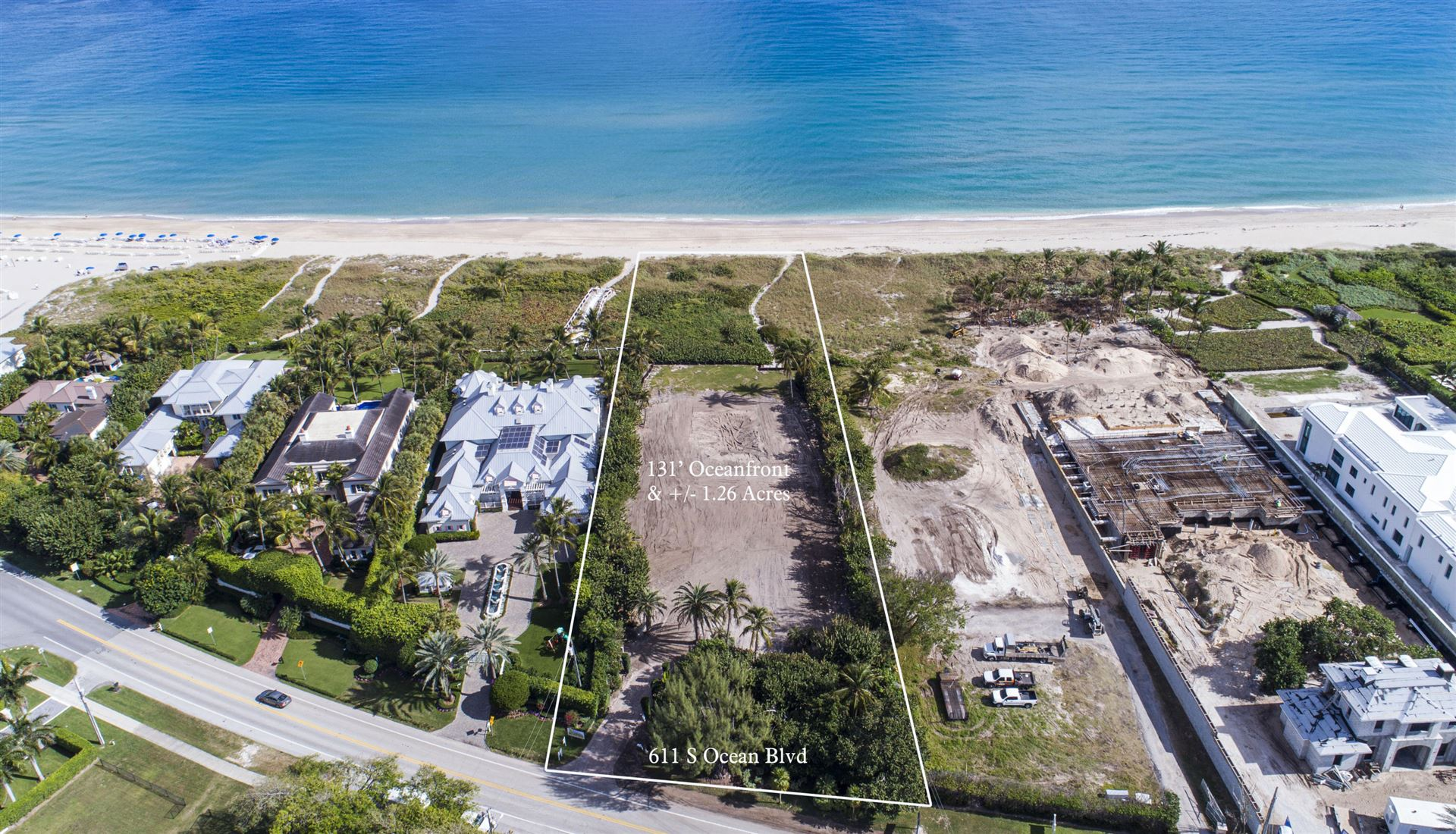 1.26 Acre Ocean Front lot located on A1A in Delray Beach Fl. 131' Ocean Frontage Properties For Sale