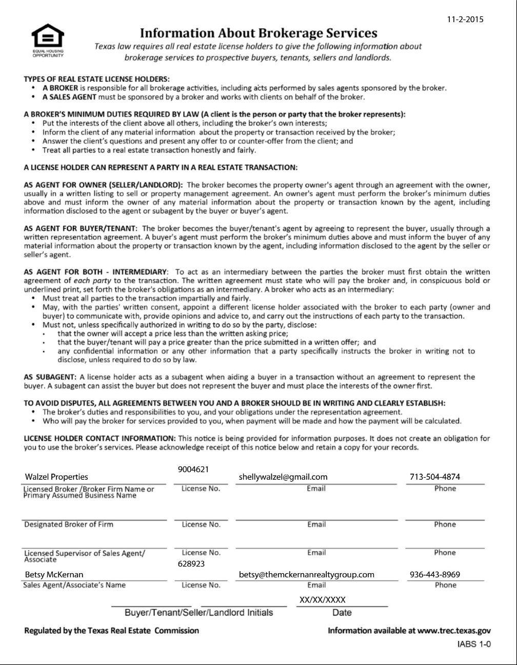 Texas Real Estate Commission (TREC) Information About Brokerage Services Form-8