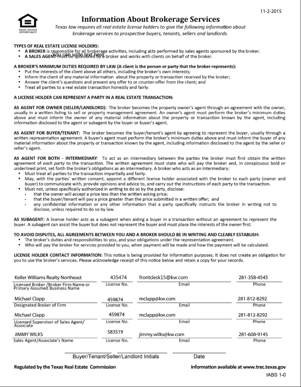 Texas Real Estate Commission (TREC) Information About Brokerage Services Form-18