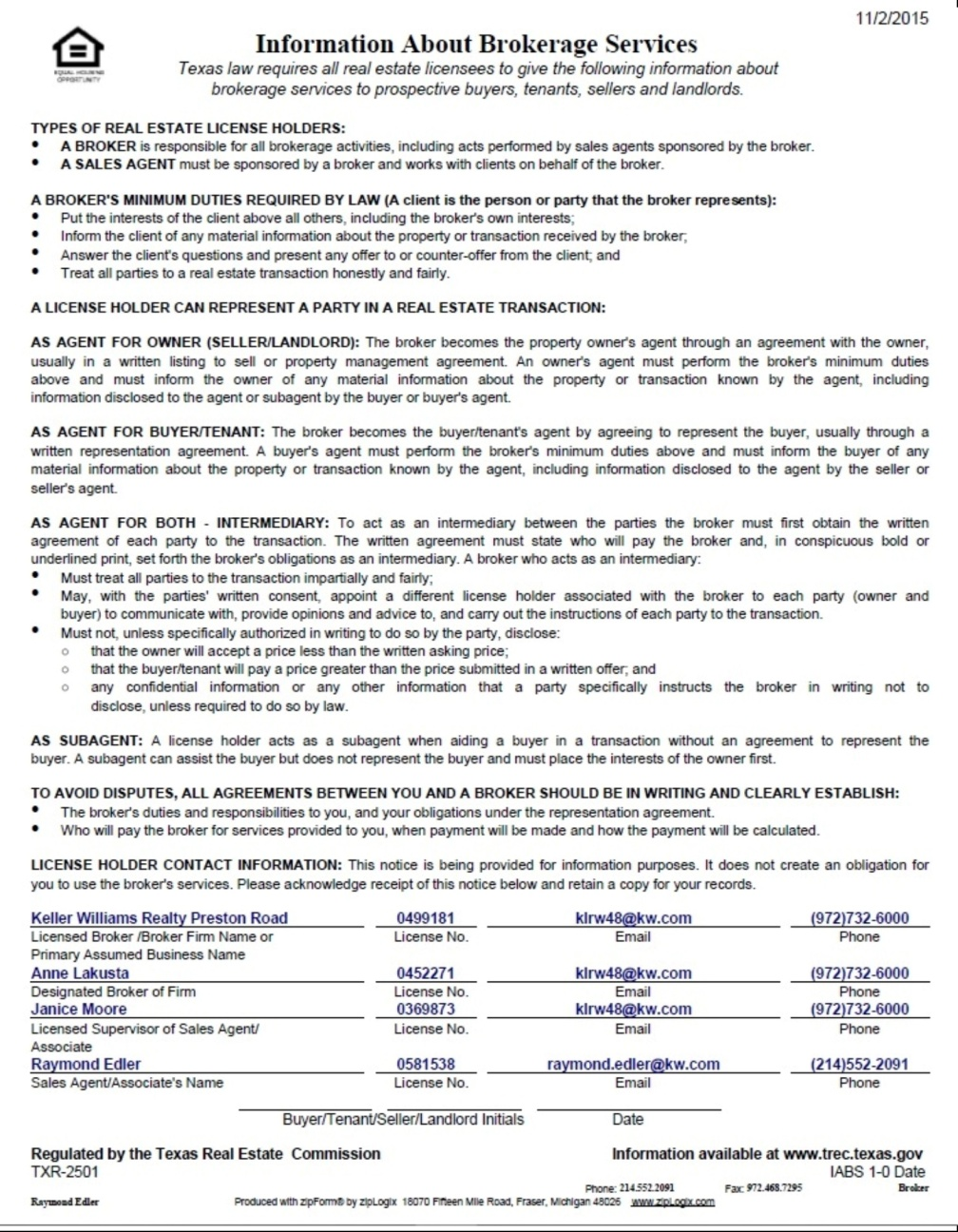 Texas Real Estate Commission (TREC) Information About Brokerage Services Form Edler