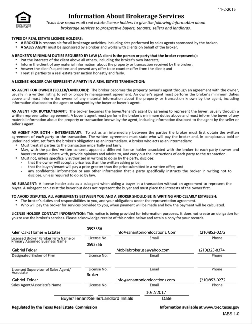 Texas Real Estate Commission (TREC) Information About Brokerage Services Form-3