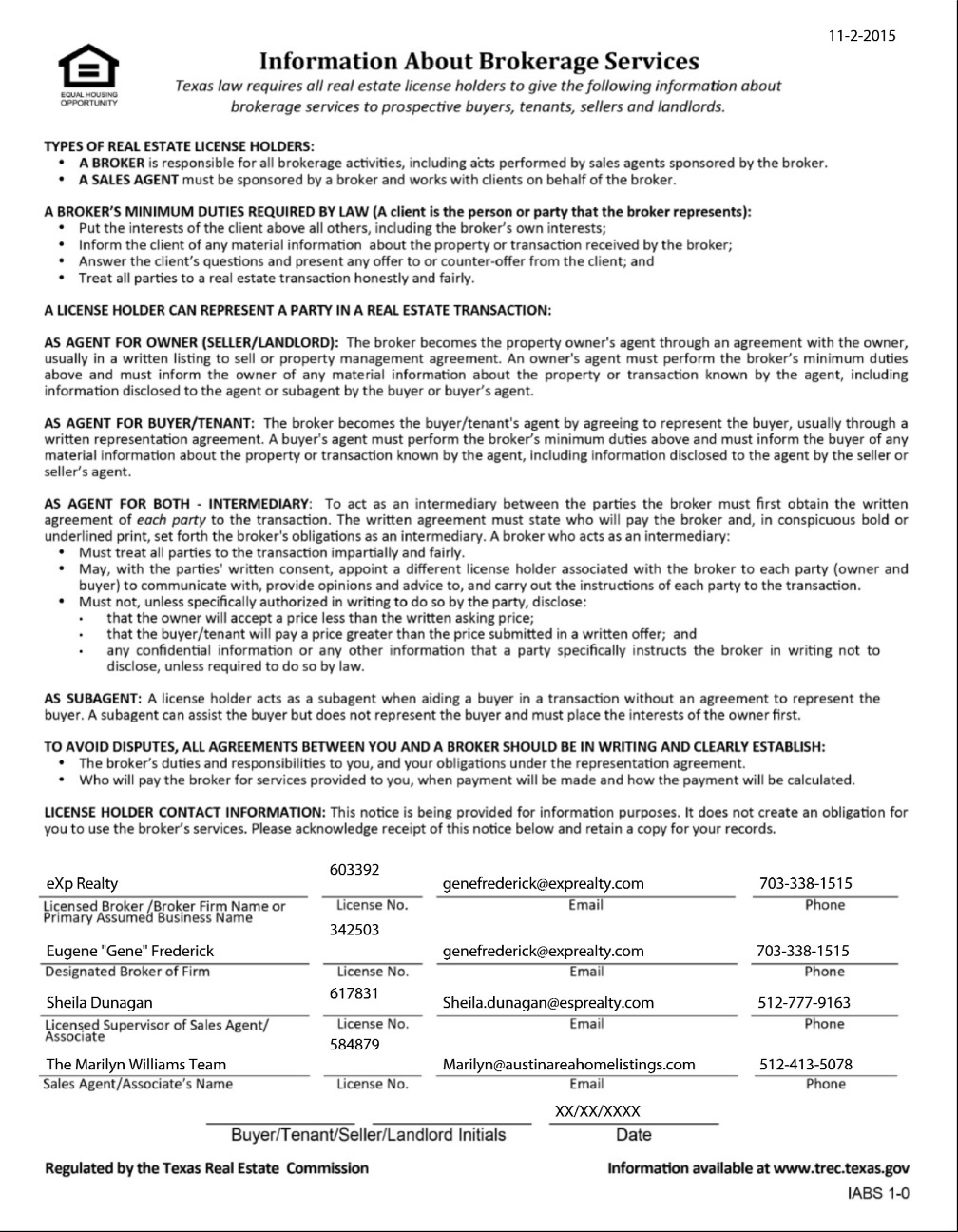 Marilyn Texas Real Estate Commission (TREC) Information About Brokerage Services Form