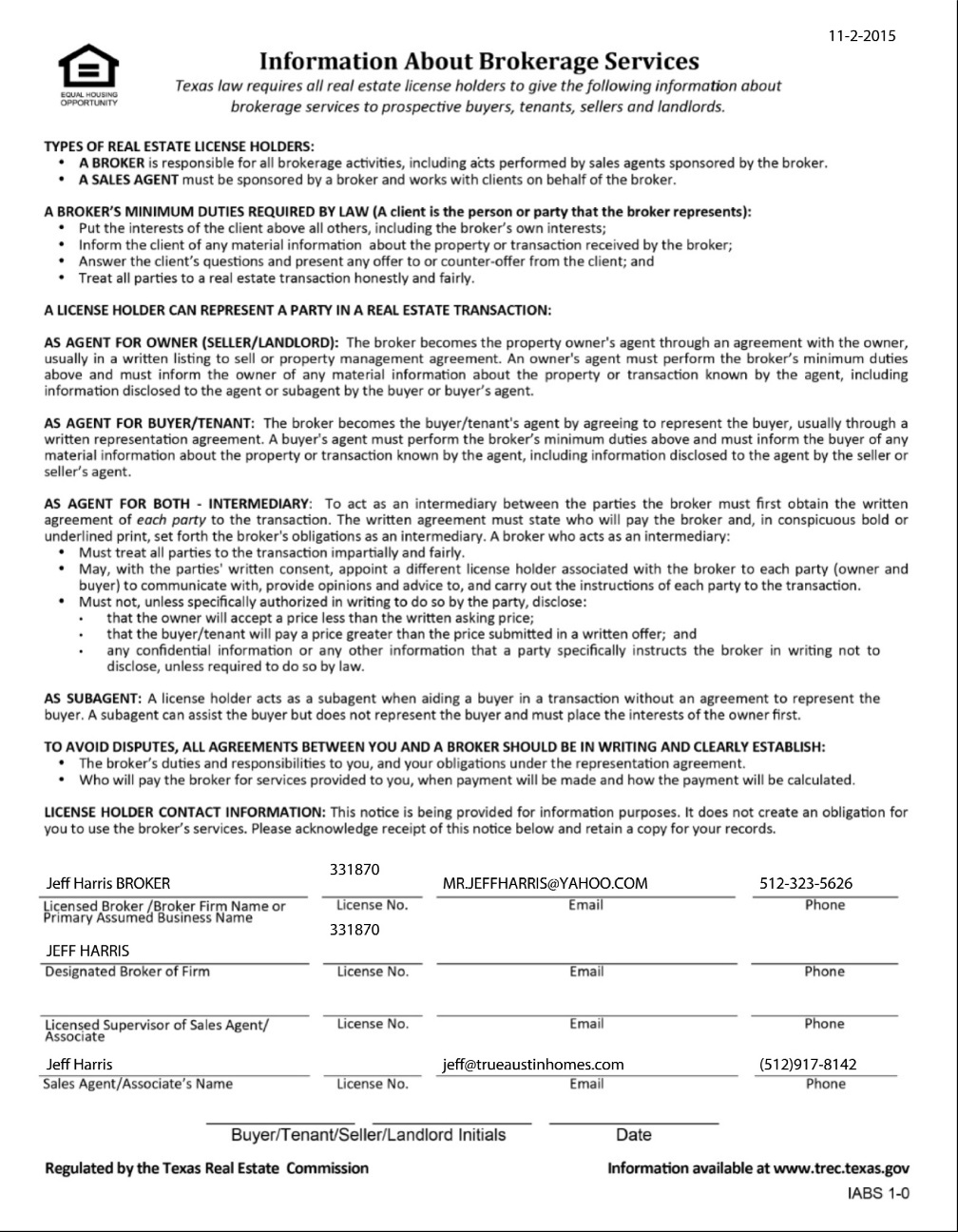 Texas Real Estate (TREC) Information About Brokerage Services Form