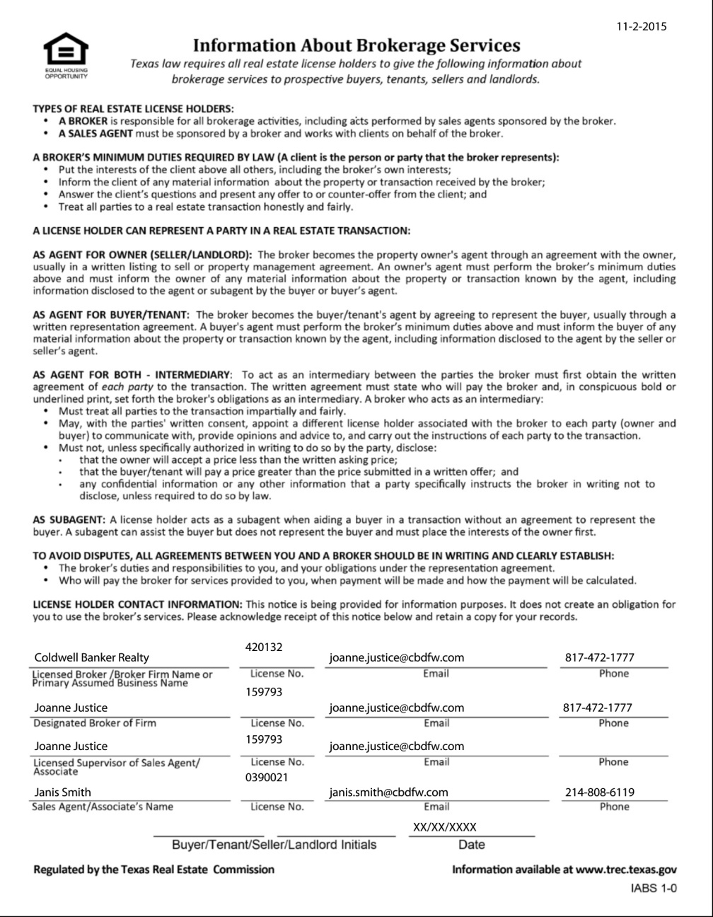 Texas Real Estate Commission (TREC) Information About Brokerage Services Form