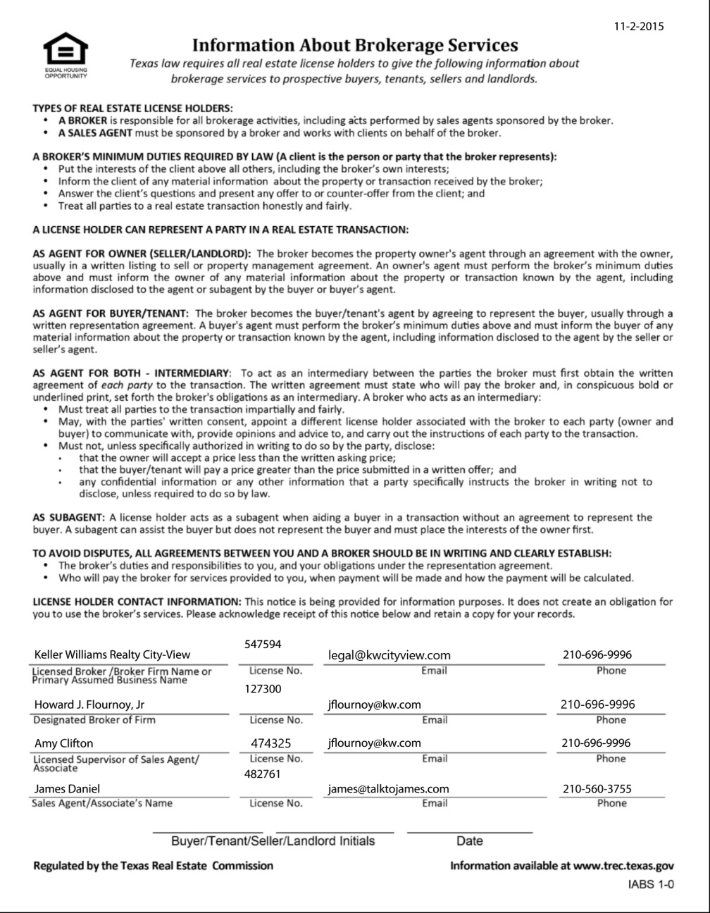 Completed Texas Real Estate Commission (TREC) Information About Brokerage Services Form-2