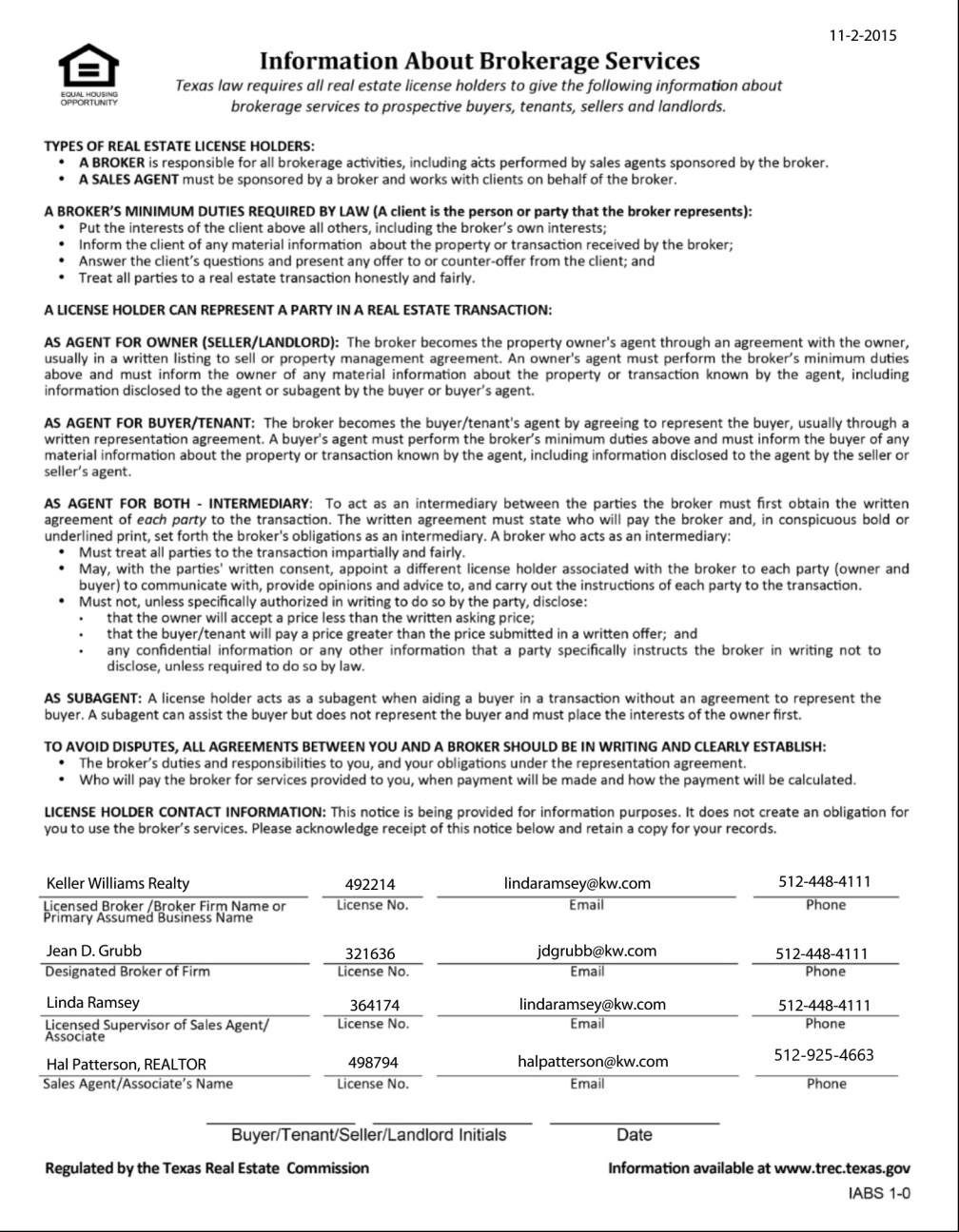 Texas Real Estate Commission Information About Brokerage Services Form