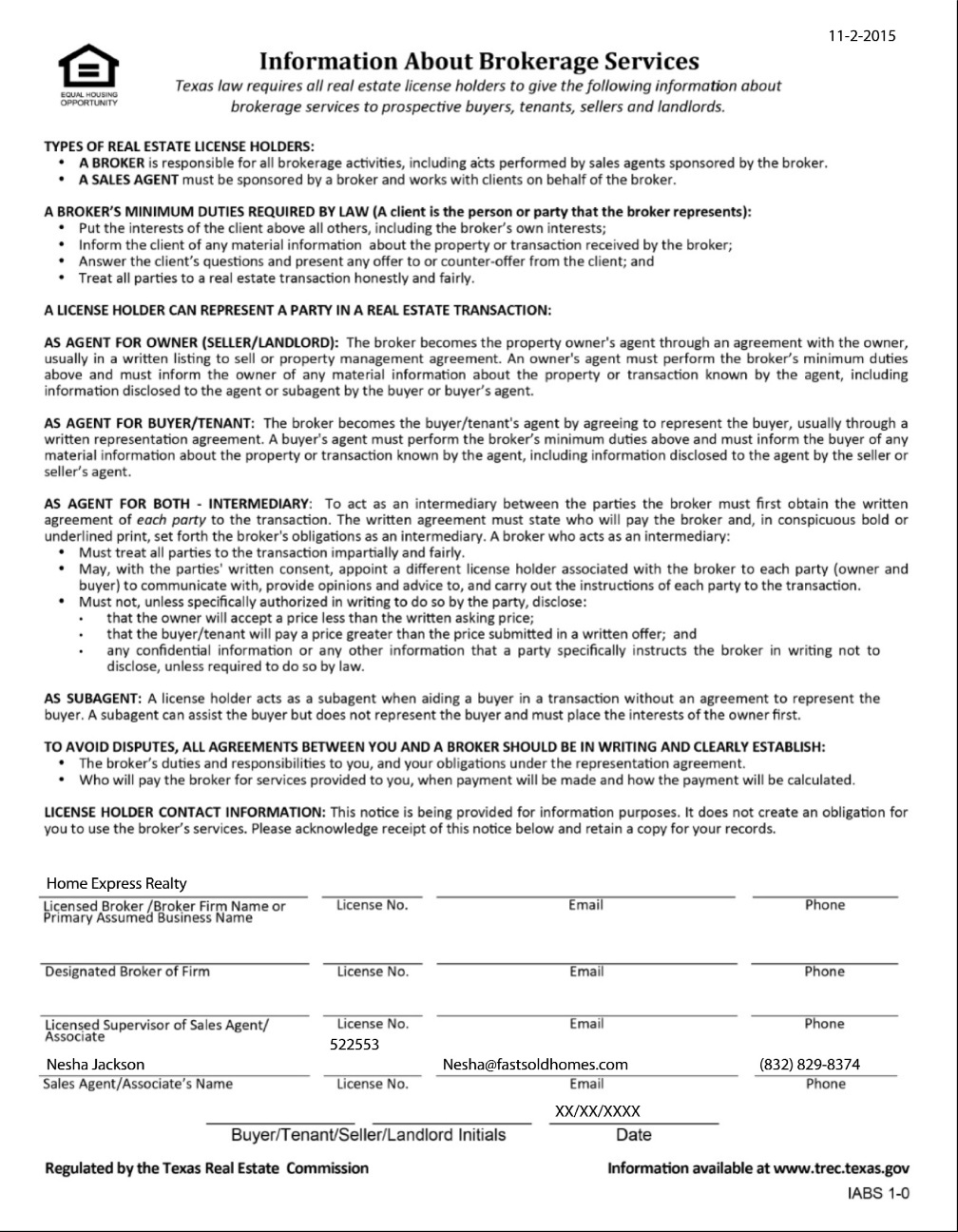 Texas Real Estate Commission (TREC) Information About Brokerage Services Form-62