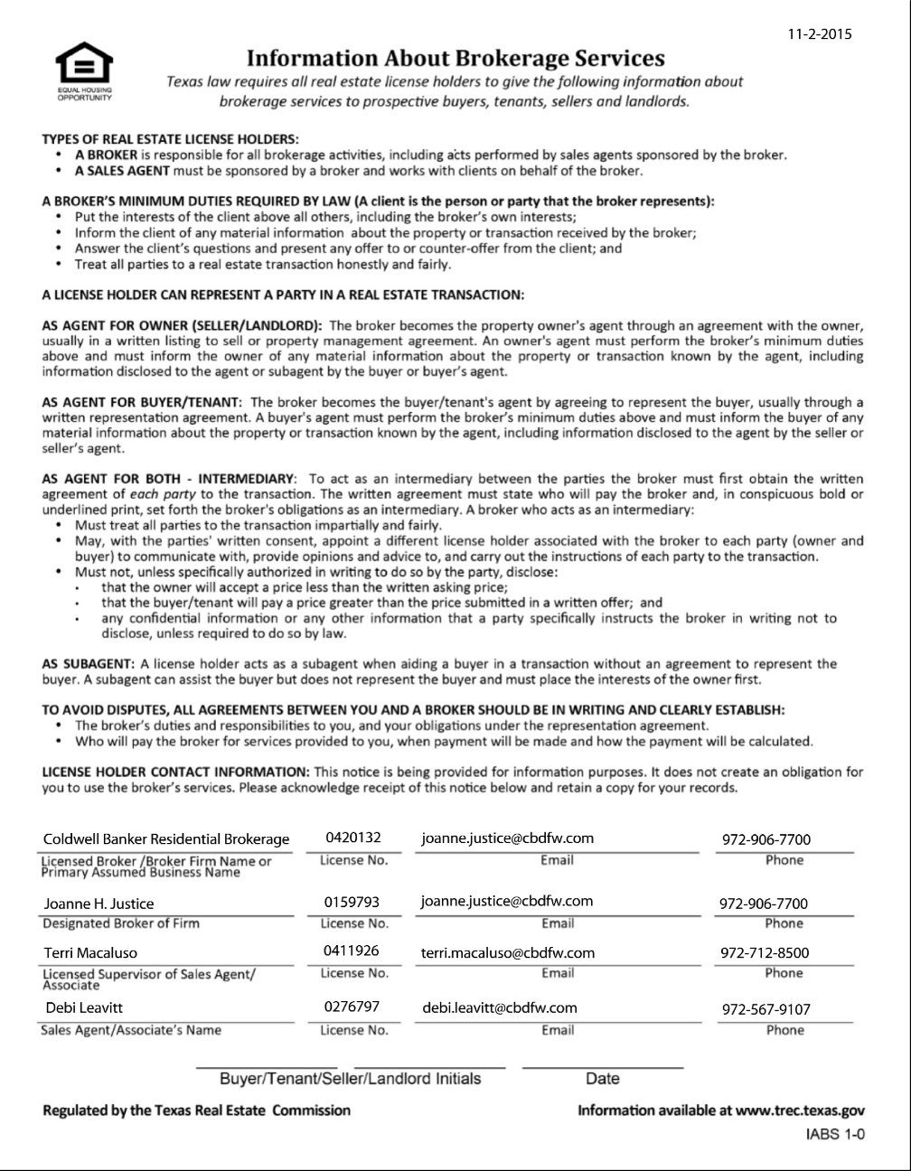 Texas Real Estate Commission (TREC) Information About Brokerage Services Form 2