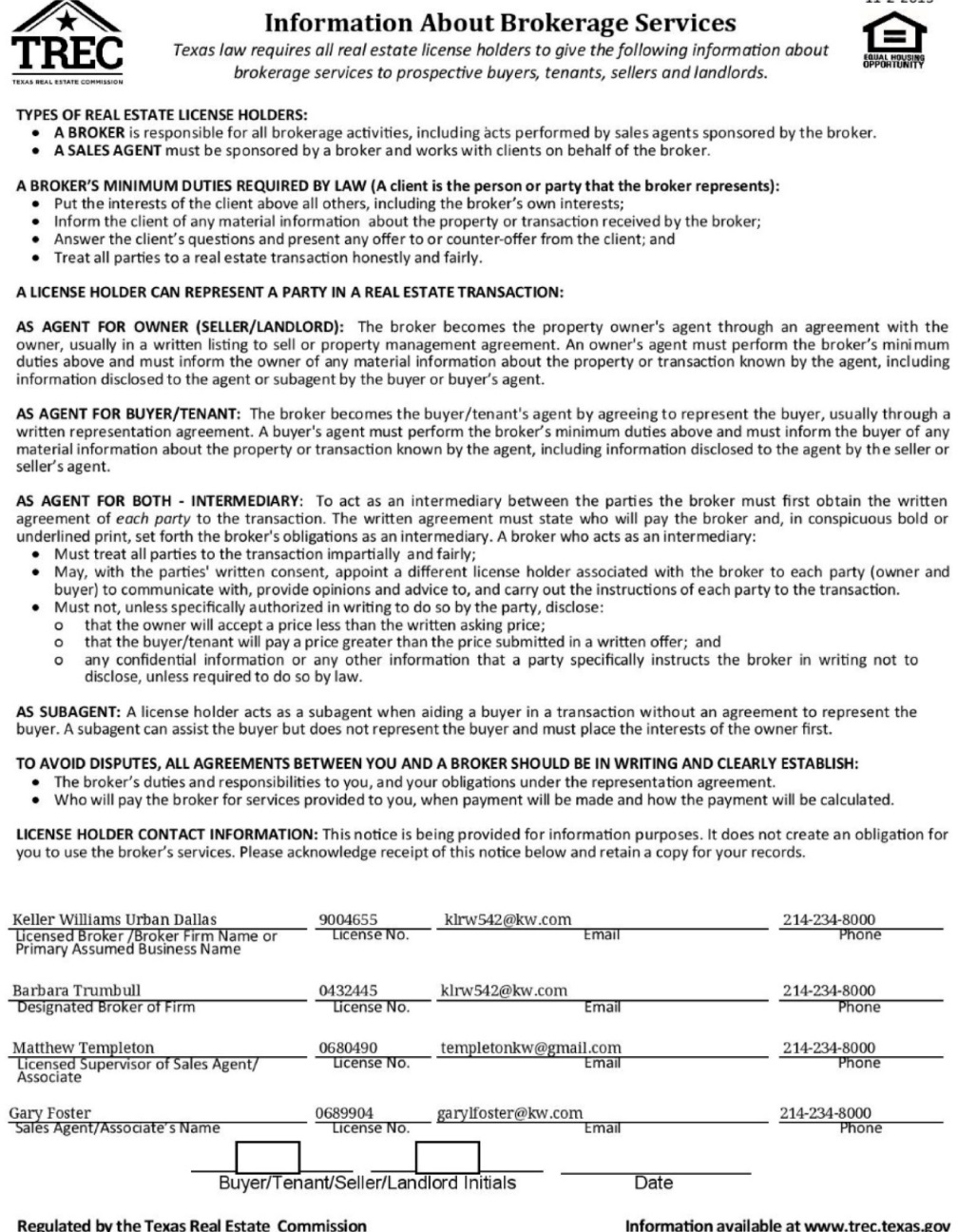 Texas Real Estate Commission (TREC) Information About Brokerage Services Form-159