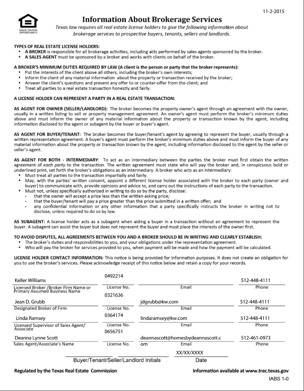 Texas Real Estate Commission (TREC) Information About Brokerage Services Form-67